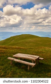 Table and bench for rest on a mountain peak on Osogovski mountains in Macedonia.