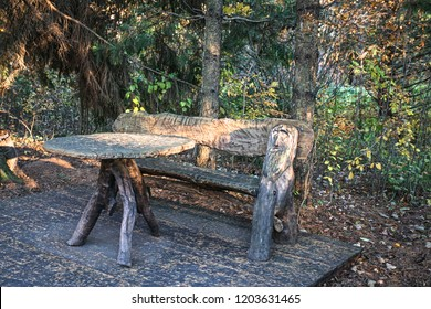 table and bench from trunks of trunks and roots of trees of ancient Slavs during the period of great migration of peoples