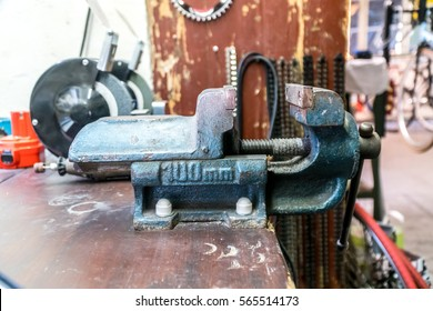 Table bench vise. Selective focus