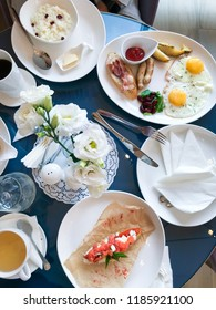 The table with breakfast food