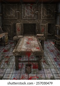 Table and bucket with blood in an old abandoned morgue