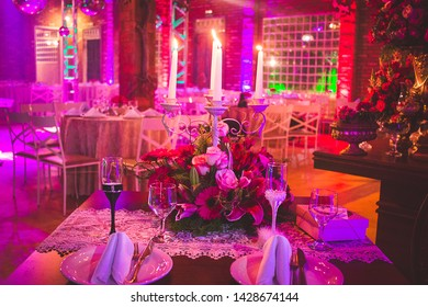 Table buffet decoration party light flowers