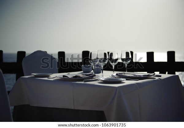 A table in a cafe in the evening