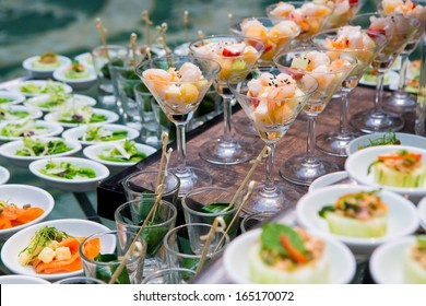 Table with catering food