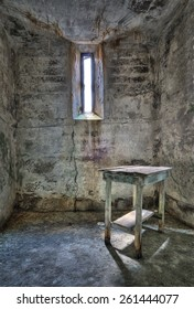 Table in Cell at Eastern State Penitentiary in Philadelphia, Pennsylvania