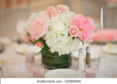 Table centerpiece floral arrangement at luxury event or wedding reception