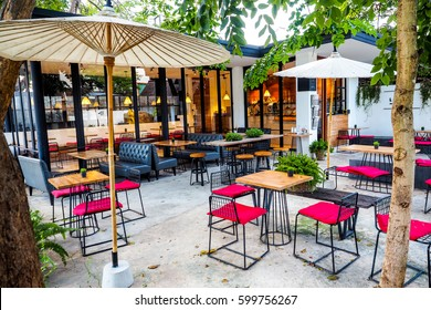 Table and Chair of Coffee Cafe outside