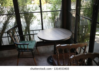 table and chair in coffee shop
