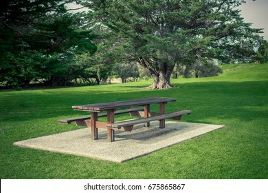 table and chair in a garden