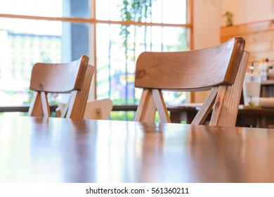 Table and chair inside the cafe shop