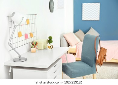 Table and chair in modern children's room