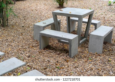 Table chair in the stone garden