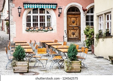 table and chairs at a cafe