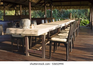 Table and chairs in empty cafe