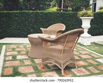 Table with chairs in the garden