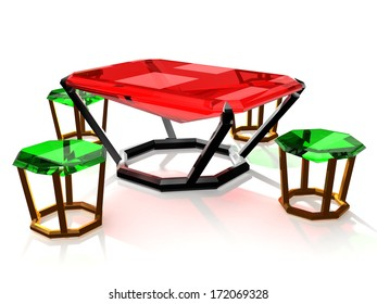 table and chairs made of precious stones