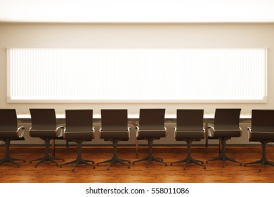 table with chairs in meeting room. Close up. 3D Rendering