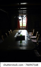 Table, chairs, and window : Rustic interior home, in Savoy, France