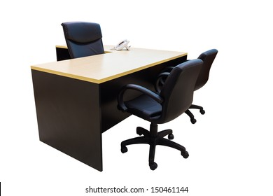 Table and chairs in working room, Office interior with clipping path