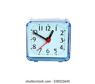 Table clock square shape showing one o'clock isolated on white background closeup