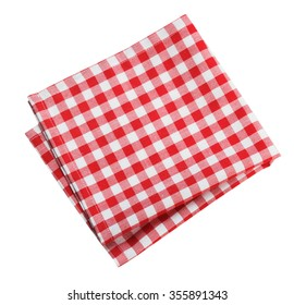 Table cloth kitchen red color isolated on white.