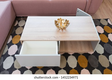 Table in contemporary living room interior
