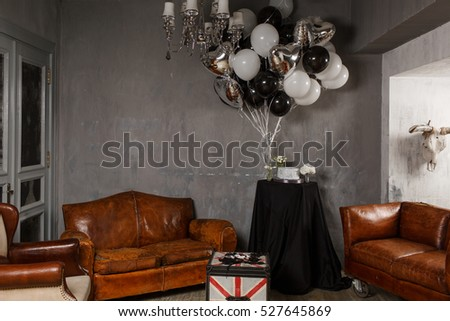 Table Covered Black Cloth Stands Between Stock Photo Edit Now