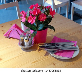 table decorated with flowers in restaurant