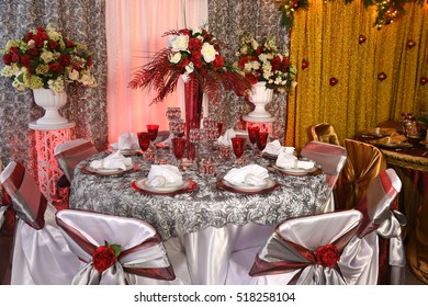 Table decorated for special event with elegant design