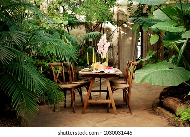 Table decorating for wedding or love story in botanical garden/greenhouse