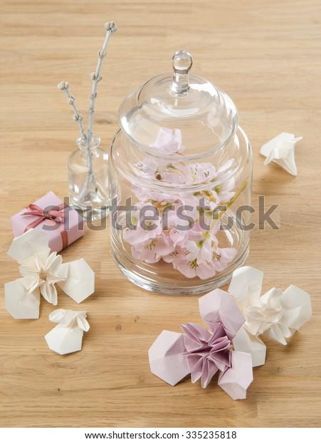 Table Decoration Ideas Origami Flowers Iris Stock Photo Edit Now 335235818
