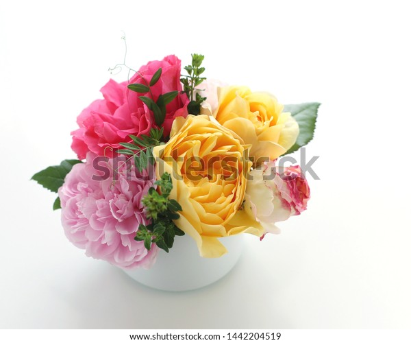 Table Decoration Pink Yellow Roses Stock Photo Edit Now