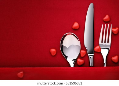 Table decoration Valentine's Day, table set with set of silverware