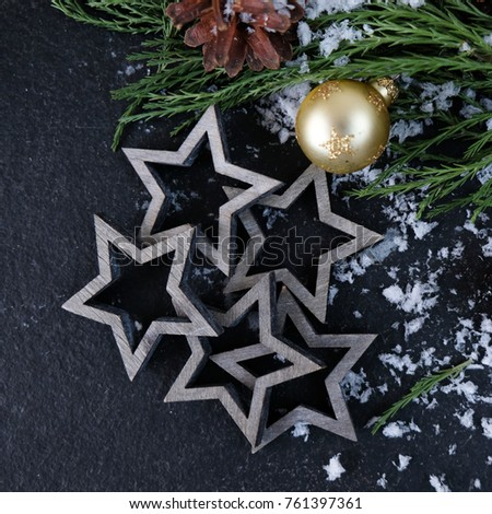 Table Decorations Christmas Bauble Stars Fir Stock Photo Edit Now