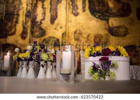 Table Decorations Wedding Reception Candles Flowers Stock Photo