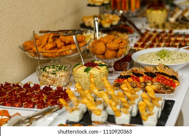 table with delicious various food