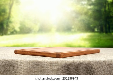 table and desk of wood in garden