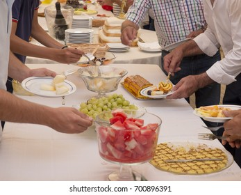 Table of desserts in a ceremony.