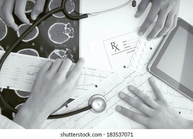 Table of doctors. monochrome photo