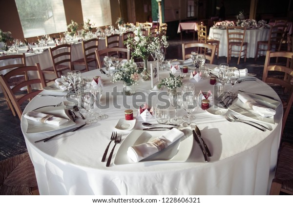 Table During Wedding Reception Stock Photo (Edit Now) 1228606321