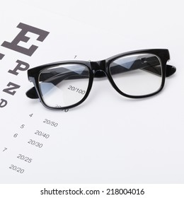 Table for eyesight test with glasses over it - studio shot - 1 to 1 ratio