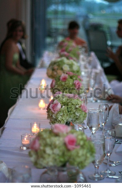 Table Flowers Wedding Reception Stock Photo (Edit Now) 1095461