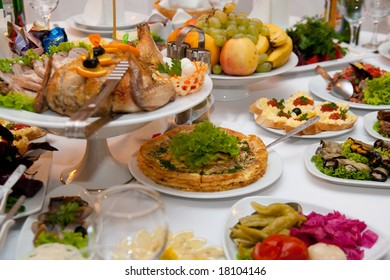 table with food background