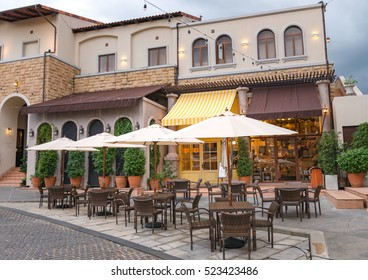 Table Of Food Center Tuscan Style Town In The Eveningtuscana