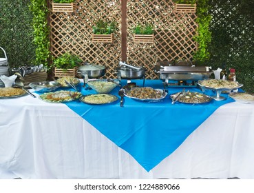 Table with food ready to serve lunch - event