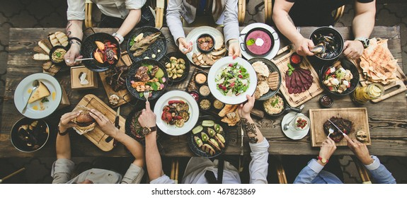 table with food, top view - Shutterstock ID 467823869