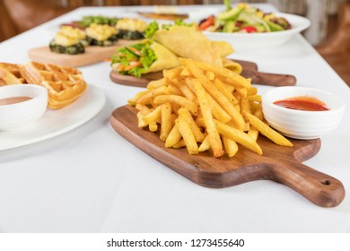 table with food, top view - Image.Restaurant dishes.