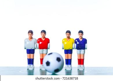 Table football .foosball soccer white background