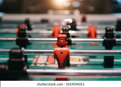 Table football game with red and black players ,Business competition concept , Teamwork