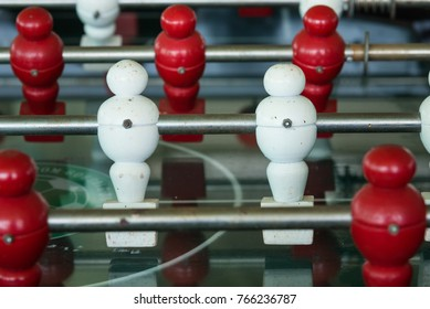 Table football game, Soccer table with Close up red and white players.Thailand